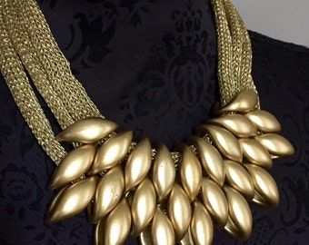 Statement bib gold Tone tribal bead beads necklace