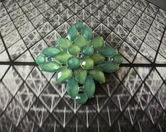ON SALE Vintage Sea Foam Green Blue Shades Glass Rhinestones Pin 71116