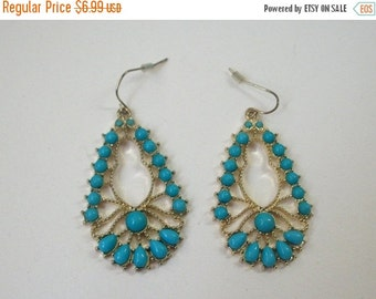 ON SALE Vintage India Inspired Gold Tone Blue Shade Resin Long Goddess Earrings 857