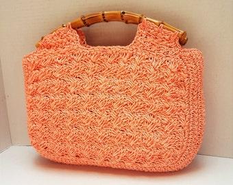 Unused ~ Vintage ~ Salmon Color ~ Rattan Handle ~ Handbag ~ Crotched ~ Deadstock ~ Tiki ~ Viva Las Vegas ~ Hawaiian ~ Purse ~ Made in Japan