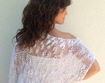 White bolero,loose knit bolero,white bolero shrug,knitted shrug,knitted bolero shrug,gift for her,S/M/L.
