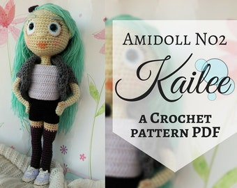Amidoll No2 - Kailee, PDF Crochet Pattern in English, Amigurumi girl doll, Stuffed toy