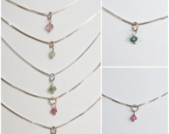 Necklace silver with tourmaline (J14)