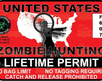 Zombie Hunting Permit Vinyl Sticker The Walking Dead Decal funny bumper sticker gift