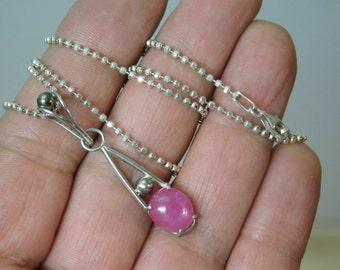 Handmade Sterling Silver Natural Ruby Necklace Pendant