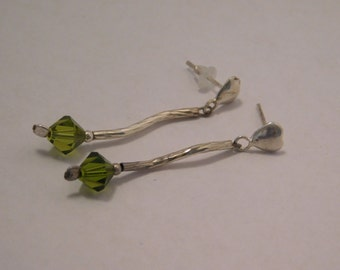 Vintage Sterling Silver And Green Peridot Earrings