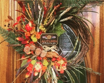 Fall wreaths for Front Door, Door Decoration for Holidays, Front Porch Welcome sign, Nice Thanksgiving Hostess Gift, Newlyweds Fall Wedding
