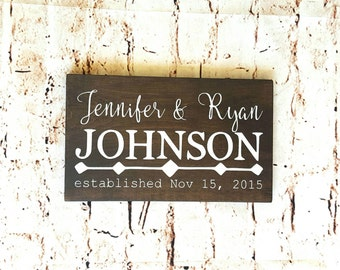 Family name sign, Personalized wood sign, Last name sign, Wedding gift, Anniversary gift