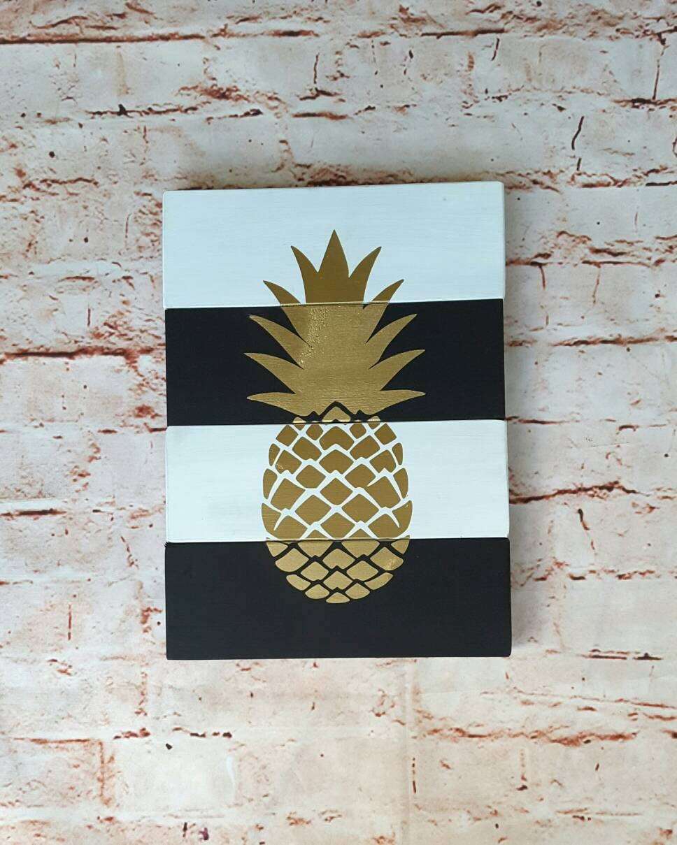 Gold pineapple sign, Pineapple wall art, Housewarming gift ...