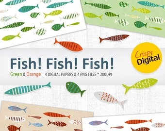 Fish Digital Papers Cute Fish Printables Green and Orange 8pcs 300dpi Instant Download Scrapbooking Printable Paper