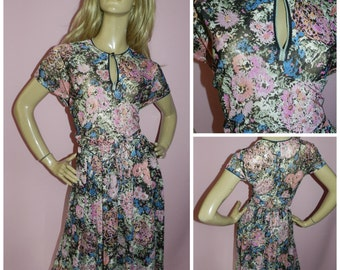 Vintage 70s Multicoloured Pretty FLORAL Print day dress 16-18 L SEMI Sheer 1970s