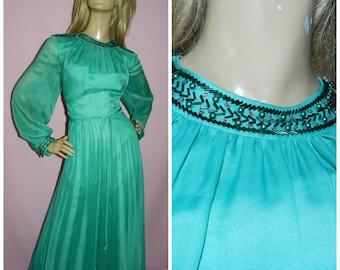 Vintage 70s EMERALD Green chiffon BEADED Trim floaty SHEER Slvd maxi evening dress 16 L 1970s Accordion pleated Goddess