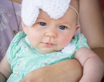 Big Baby Headband / Nylon Headband / White First Birthday Headband / White Bow Nylon Headband / White Big Baby Headband