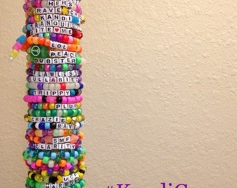 20 Single Random Kandi bracelets for EDM Rave Festivals-  Customize 5 Free