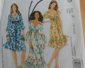 Sewing pattern McCall's 5805 Misses' lined dress new uncut size 16 to 20