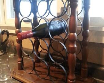 Vintage Wine Rack - Wood Wine Rack - Small Wine Rack - Wine Rack - Large Wine Rack - Iron Wine Rack - Wood And Iron Wine Rack - Wine Table