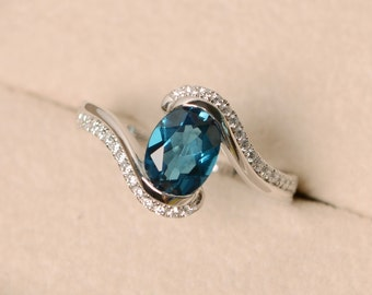 London blue topaz ring, oval cut ring, engagement ring, sterling silver
