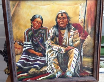 """Native American Oil Painting On Canvas - """"At Home"""" Signed By Anita Burnevik 1985"""