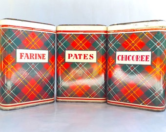 Set of 3 French Metal Canisters Chicory Flour Pasta Tartan Pattern / French Vintage Kitchen Containers / Storage Tin boxes