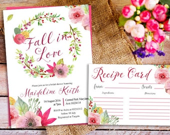 Falling In Love Bridal Shower Invitation, Fall Bridal Shower Invite, fall recipe card, couple shower invitation, fall engagement party