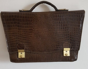way croco leather Briefcase