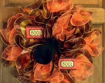 Halloween wreath, deco mesh wreath, spider wreath, boo wreath, Halloween, boo sign, front door wreath