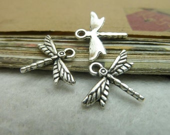 50 Dragonfly Charms Antique Silver Tone