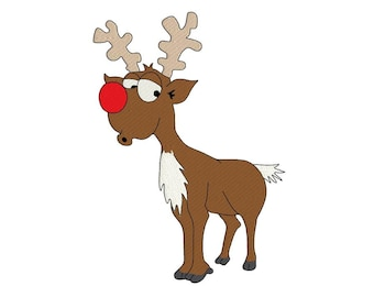 Rudolph the red nosed reindeer machine embroidery design for kids, fill embroidery design, instant download
