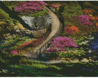 Beautiful Spring cross stitch/needlepoint/beadweaving charted pattern