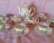 Kronester Bavaria, Demitasse Tea or Chocolate Set, 22K Gilded, Iridescent Porcelain w/ Paintings by Fragonard, COMPLETE!