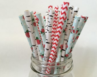 Summer Woodland Paper Straws, Woodland Straws, Woodland Theme, Nature Theme,  Party Decoration, Birthday Party, Garden Club, 25