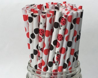 Paper Straws, Ladybug Paper Straws, Assorted Paper Straws, Ladybug Theme, Nature Theme, Birthday Party, Party Straws, Party Decor, 25 pkg