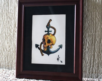 Skull and Anchor, colored pencil original art (framed)