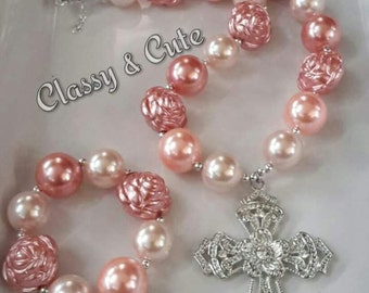 Ladies Coral/Peach Chunky Necklace