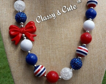 Red, White and Blue Chunky Necklace