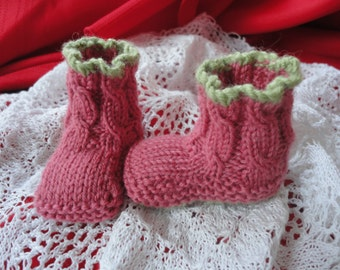 Pink and green booties