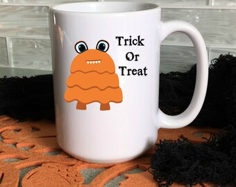 Halloween Mug for Kids, Trick or Treat Halloween Mug, Cocoa Mugs, Kids Mugs, 15 oz,  11 oz, Halloween Decor