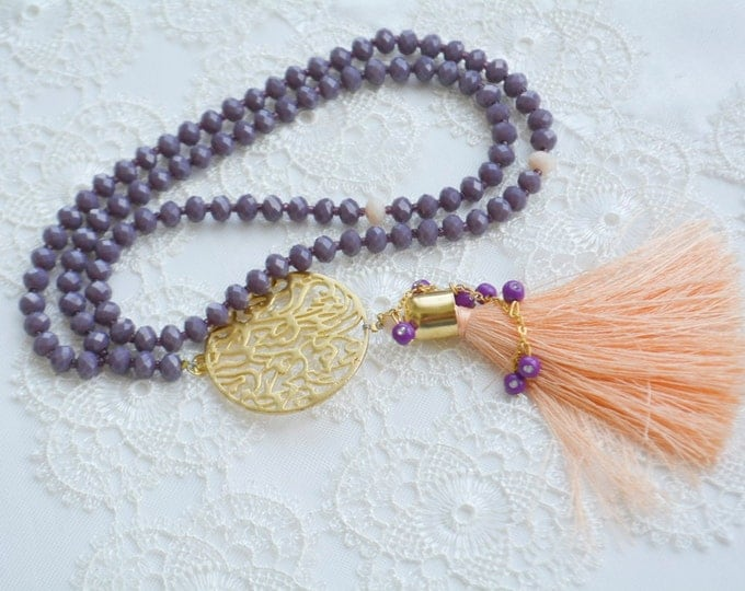 doa glass rosary,beautiful orange tassel necklace,grape lilac tesbeeh,sufi misabah,praye tasbeeh,protection dua pendant,99 cont tasbeeh .