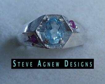 Aquamarine and Ruby Ring