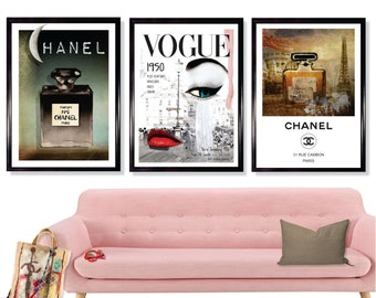 Vogue Set of 3 X A3 Art Prints, and A2 size, Vogue poster, Perfume Bottle Chanel N5 print ,Typography, Vintage Wall Art, French art