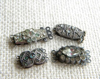 Vintage lot 4x solid SILVER clasp PASTE set ~ for projects ~  A1547