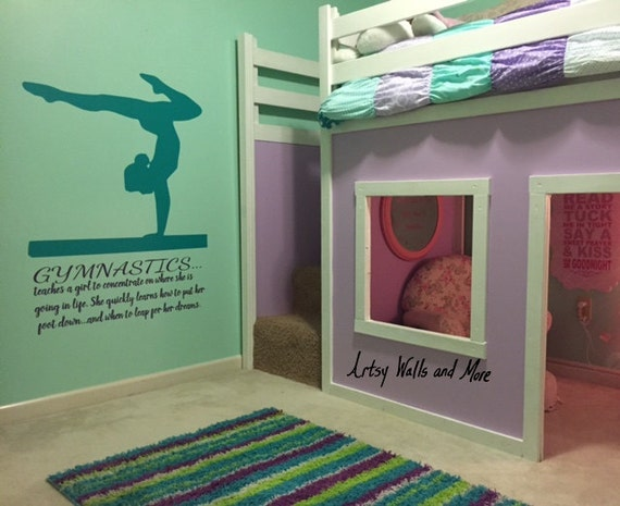 Gymnastics Wall Decal Quote Teaches A Girl To