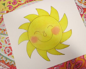 Smiling Sun blank note card