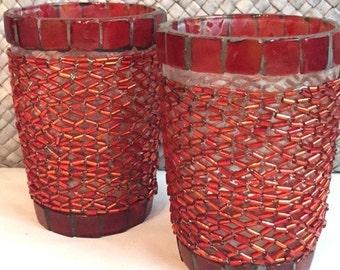 Red Beaded Glass tea light holders set/2