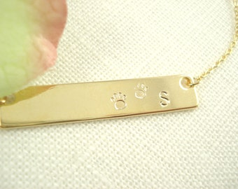 Paw Hand Stamped Gold Bar Necklace...Personalized Name plate bar jewelry, monogram, animal paw, dog's paw bridesmaid gift