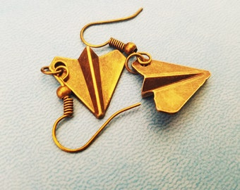 Bronze Paper Airplane Earrings