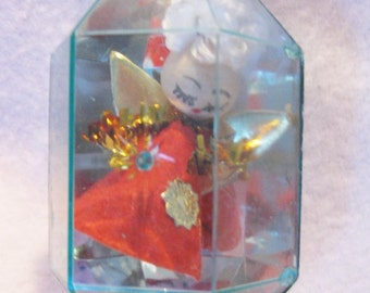 Vintage Chritsmas tree ornimennt angel in side crystal shaped plastic