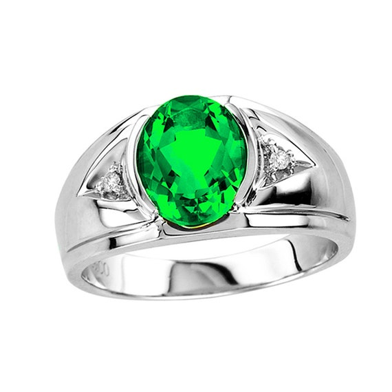 sterling silver emerald ring light green emerald ring