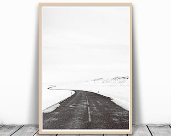 Modern Minimalist, Black and White Photography, Winter Photography, Scandinavian Art, Minimalist Photography, Nordic Art, Nordic Print, Road
