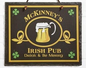 Old Irish Pub Personalized Slate Plaque